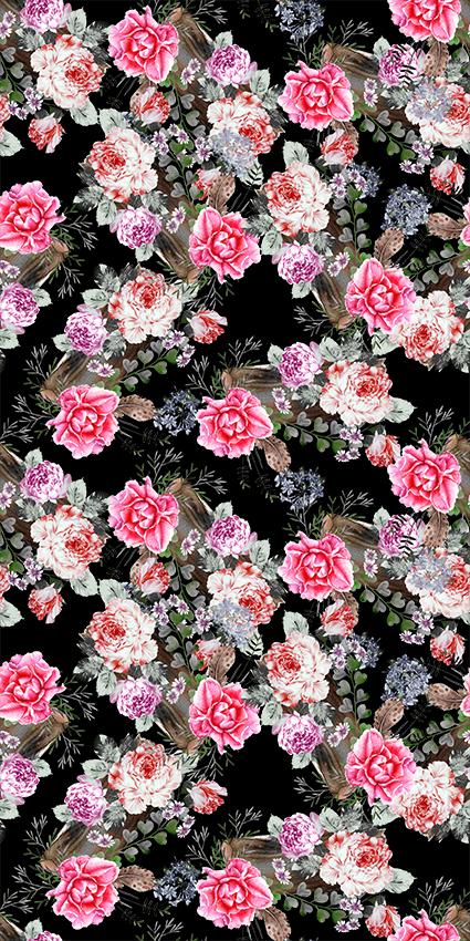 手绘艳丽植物粉色花