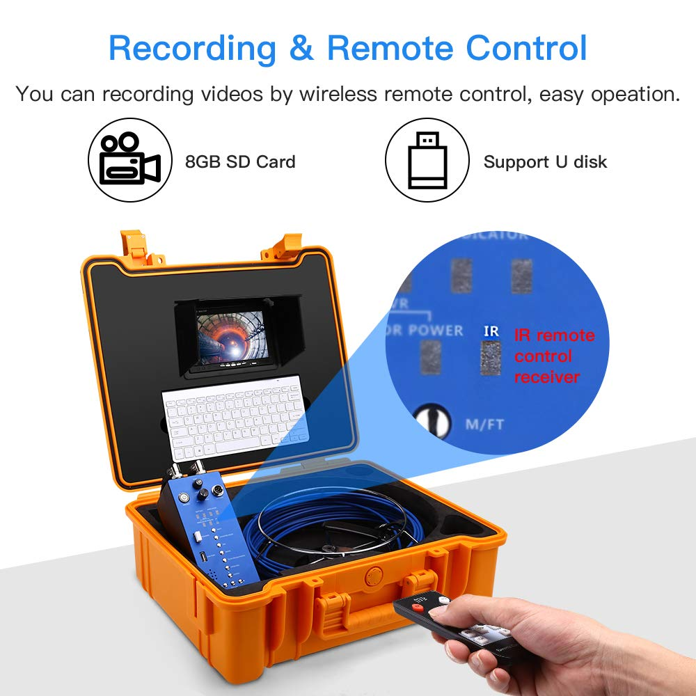 Eyoyo Pipe Pipeline Inspection Camera, 20M/65ft 1MP Camera Drain Sewer Industrial Endoscope with 7inch LCD DVR Video Monitor with Length Counter & Keyboard & 8G SD Card