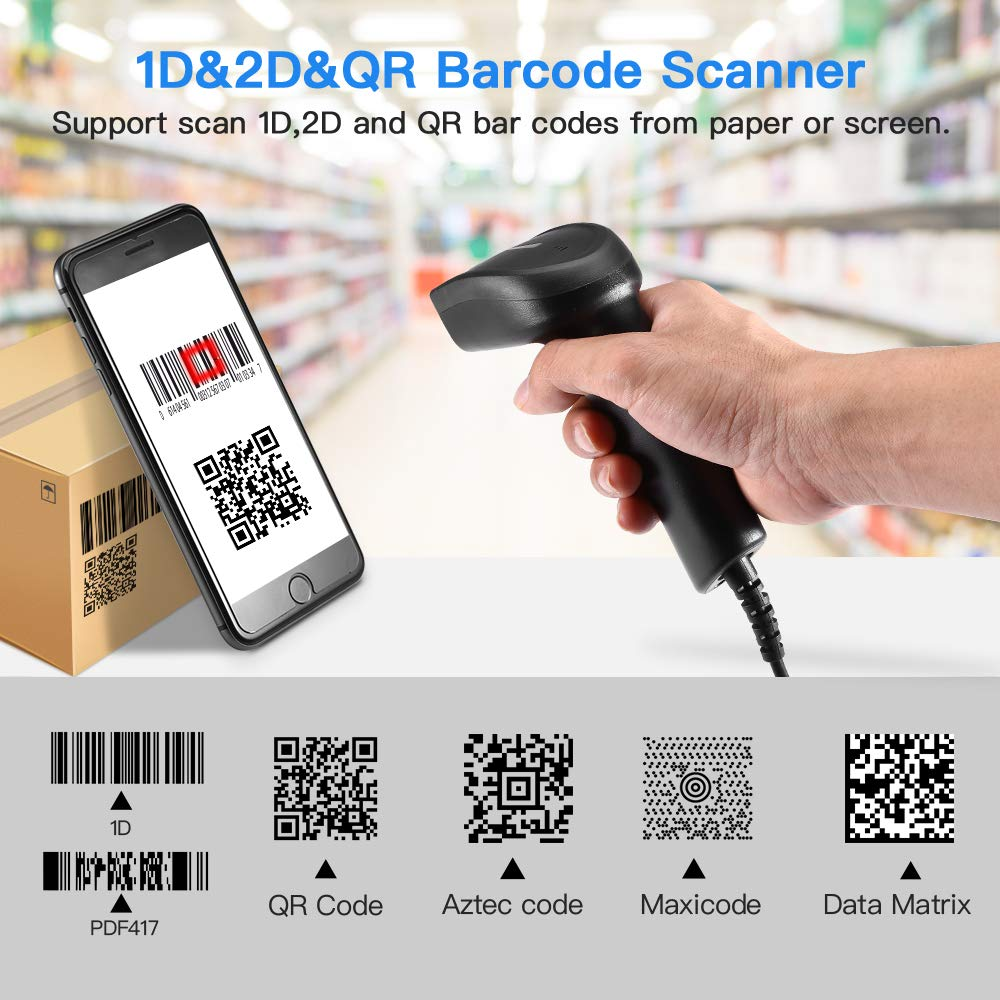 Eyoyo 1D 2D QR Handheld Wired Barcode Scanner, CCD PDF417 Data Matrix Bar Code Reader with USB Cable to for Computer, PC, Laptop, Desktop Support Windows xp/7/8/10, Mac OS, Linux System