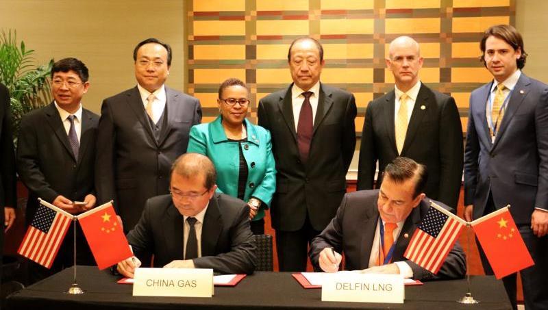 """一氣呵成 貿易互補 爲""""藍天保衛戰""""獻力 中國燃氣集團與美國Delfin公司就進口LNG項目簽訂合作備忘錄"""