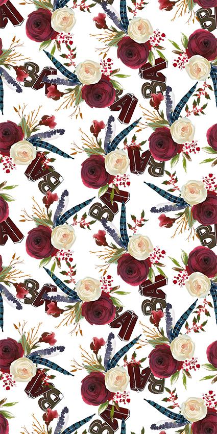 立体字母手绘花朵