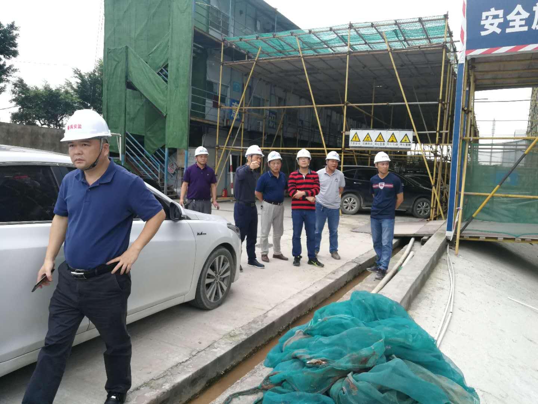 番禺区住建局陈局长及安监吴工、廖工到现场验收十六层外飘5.4米结构梁板悬挑高支模。