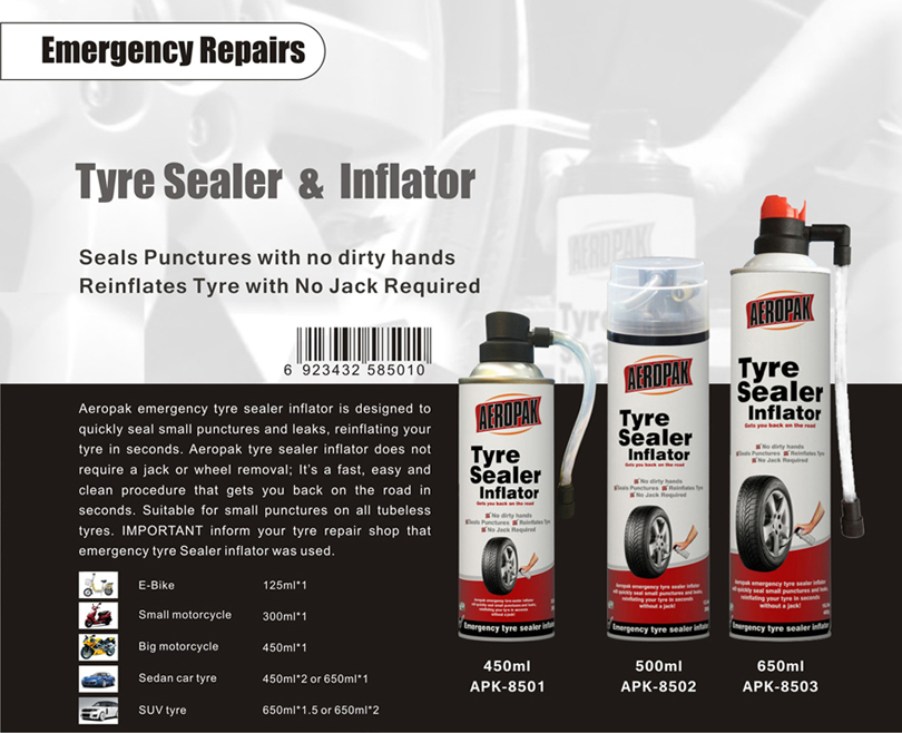 Aeropak Tyre Sealer & Inflator 500ml