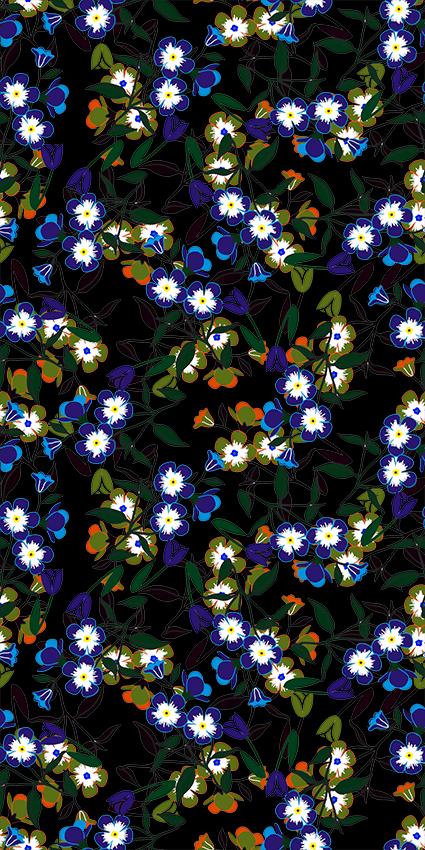 蓝色描边四叶花