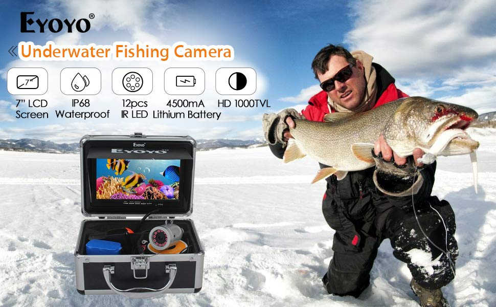Eyoyo Portable 7 inch LCD Monitor Fish Finder Waterproof Underwater HD 1000TVL Fishing Camera (7 inch Infrared Lights(30m) + DVR)