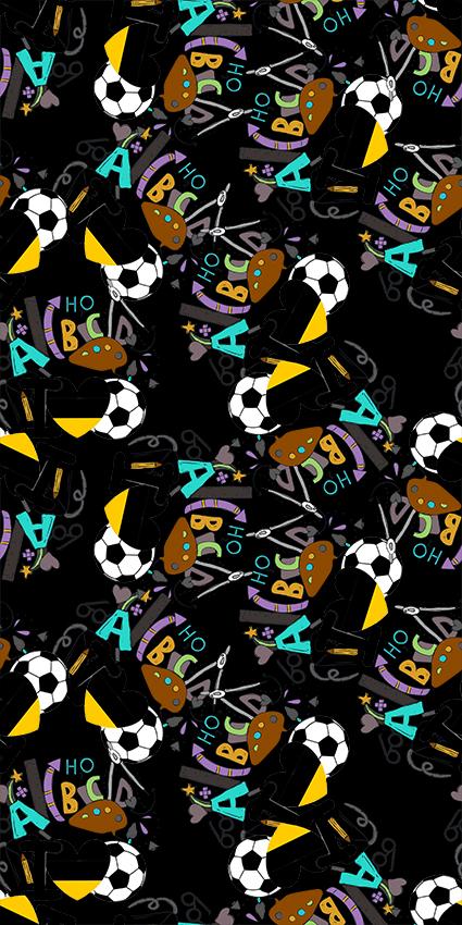 立体字母足球图形
