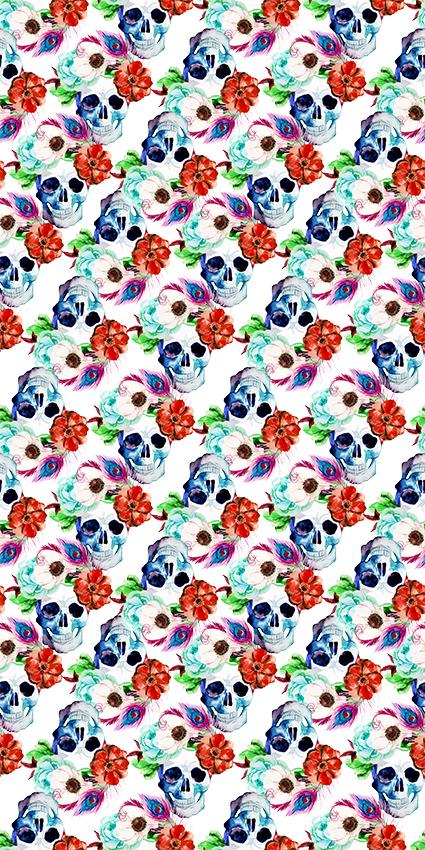 花朵骷髅花卉图案