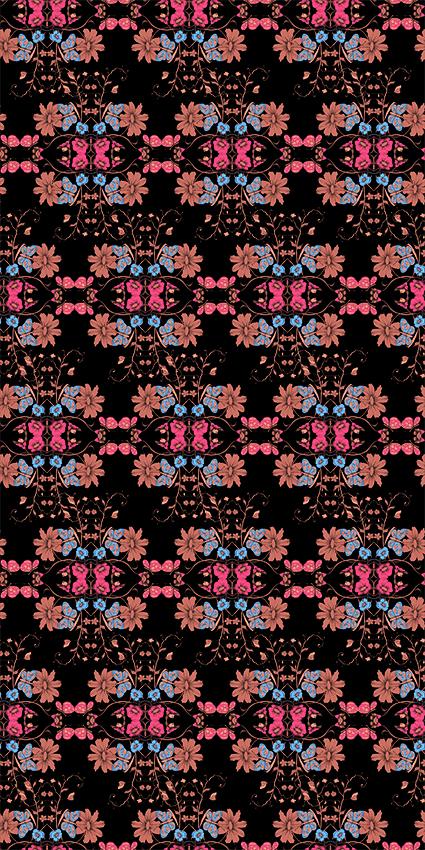 对称手绘效果花朵