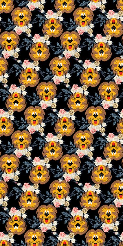 可爱狮子树叶花卉