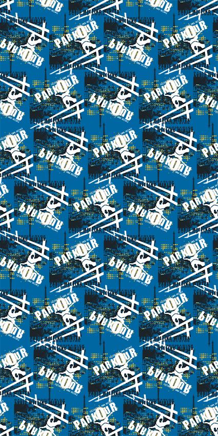 蓝底平面色块几何图
