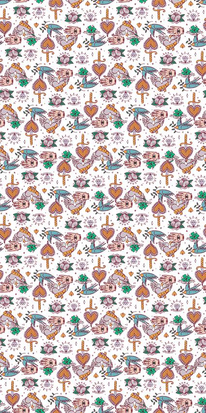 砖石桃形树木花鸟