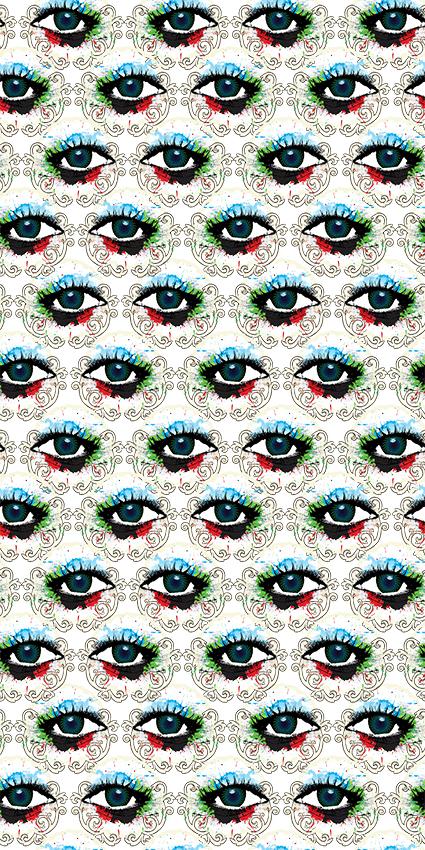 水彩眼睛几何花边