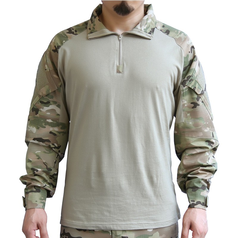 Spring and Autumn Specials Camouflage Tactical Set Men's Training Service Tactical Long Sleeve T-shirt Tops