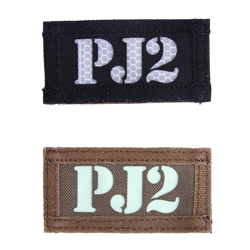 Tactical Badge PJ2 Letter Military Hunting Reflective Badge Outdoor Sports Patch Double indentify