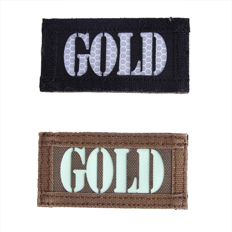 Hunting Badge GOLD Letter Military Tactical Reflective Badge Outdoor Sport Patch Double indentify
