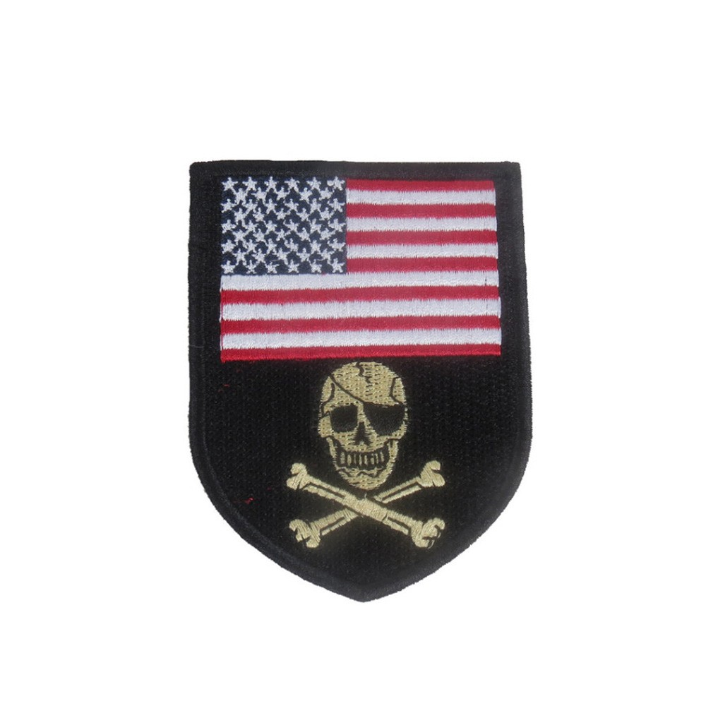 American Flag Skull Embroidered Patch