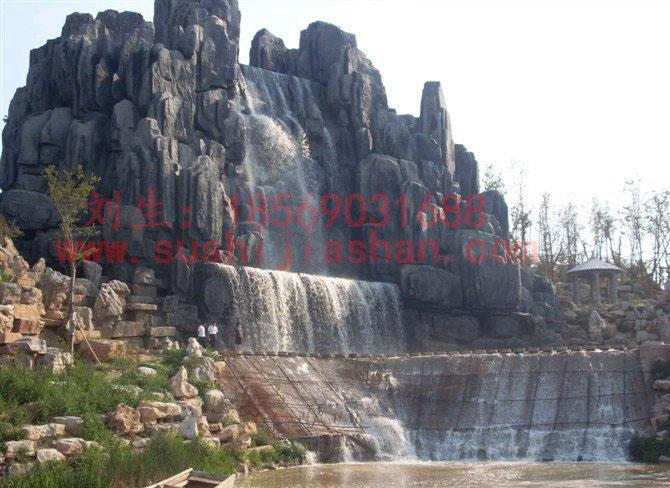山东塑石假山大瀑布工程于2010年完工