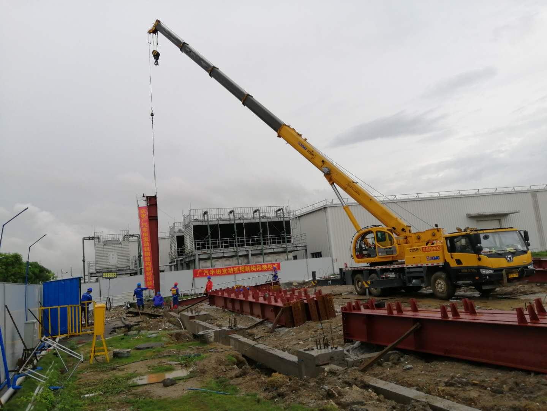 我司第二工程管理事务所监理的广汽丰田项目发动机钢构吊装仪式。