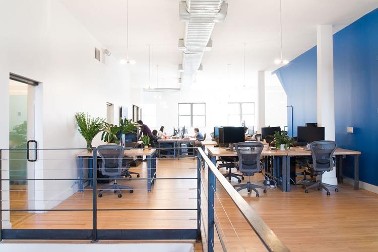 蓝色系LOFT办公室清爽不要不要的