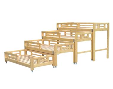 七彩-儿童实木四层推拉床