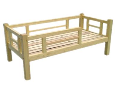 七彩-儿童实木带护栏单人床