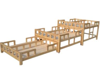 七彩-儿童原木三层六人推拉午睡床