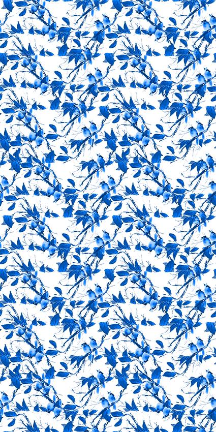 天蓝植物手绘花鸟