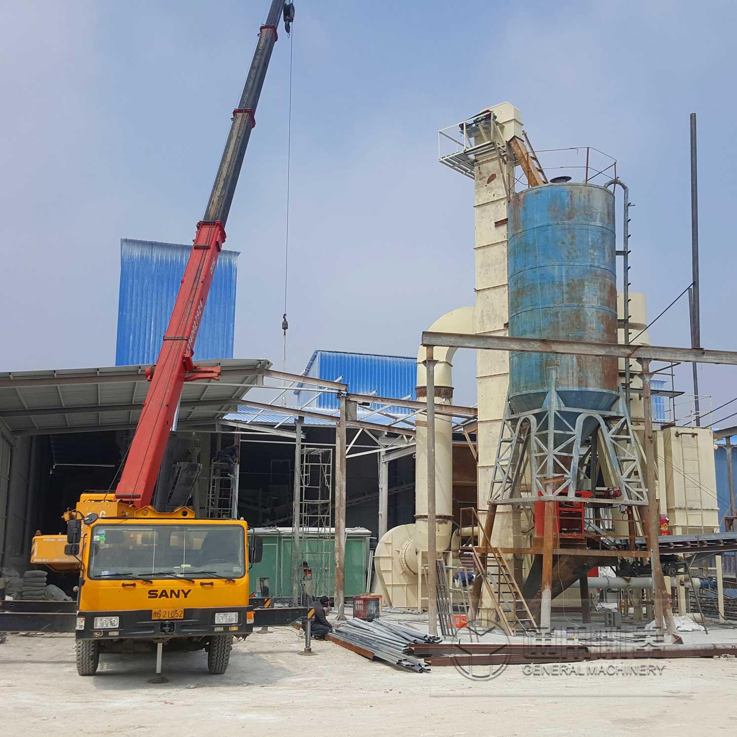 河南泌阳时产30吨石灰石磨粉生产线1