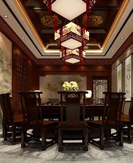 红山世家 中式风格古典四合院精致三室两厅装修