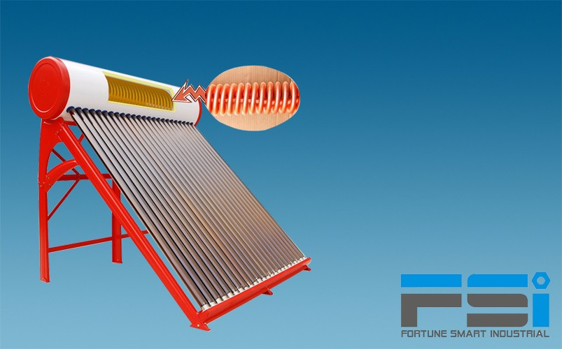 Copper Coiling Finned Tubes Solar Water Heater1