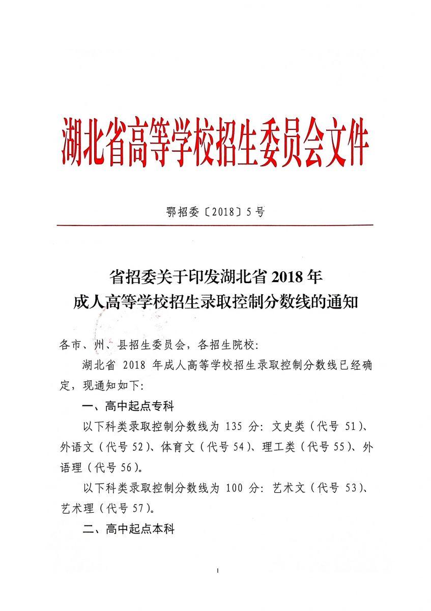 省招委关于印发湖北省2018年 成人高等学校招生录取控制分数线的通知