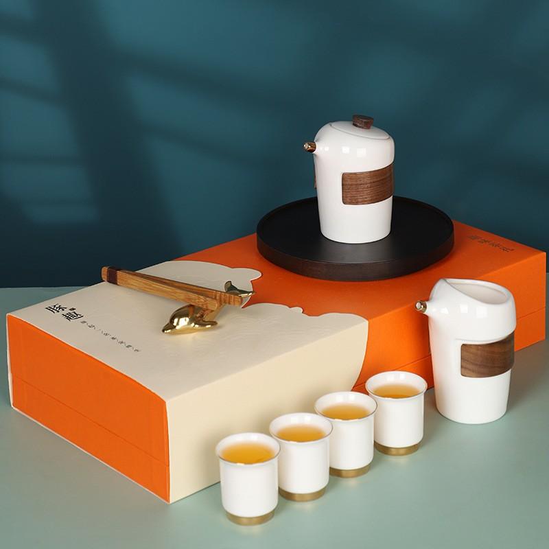 豚趣羊脂玉瓷茶具套装创意功夫茶具