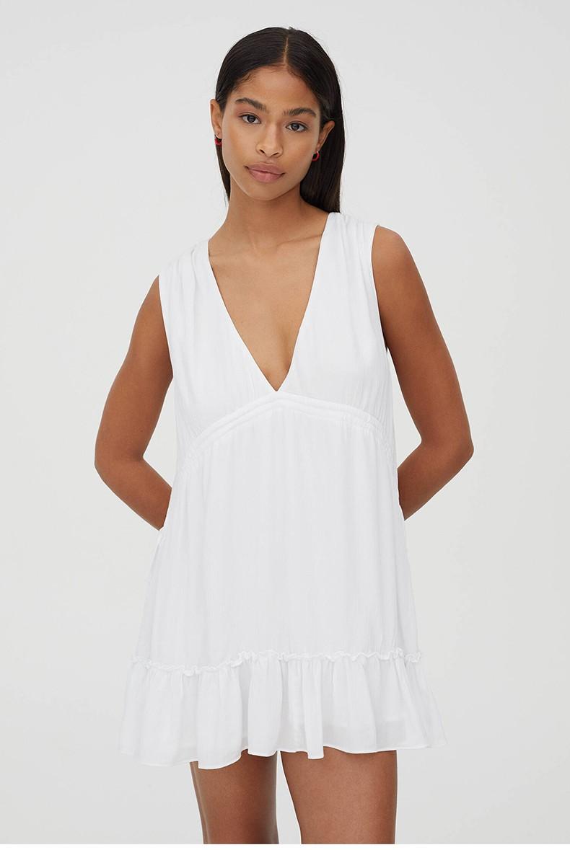 Drawstring Ruffles Deep V-neck Sleeveless Casual Women Dress New Plus Size For Pregnant Vintage Summer