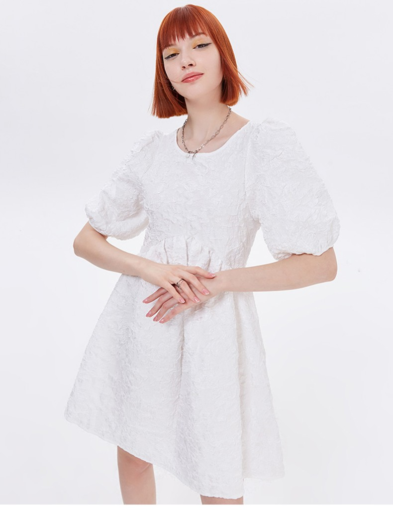 Pleated Half Puff Sleeve Casual Women Dress New Plus Size 2021 Midi For Pregnant O-Neck Backless Vintage