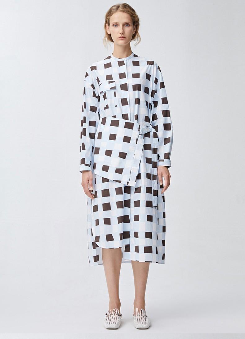 Asymmetric Plaid Half Sleeve Slit Casual Women Dress Summer New Zipper Plus Size O-neck 2021 Loose