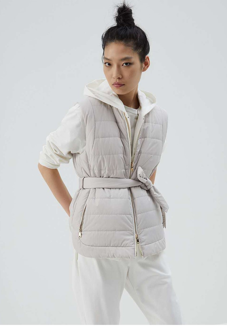 2021 Waistband Women Cotton-padded Jacket Fall Autumn Winter Pockets Zipper Straight Sleeveless