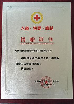 红十字事业捐赠证书