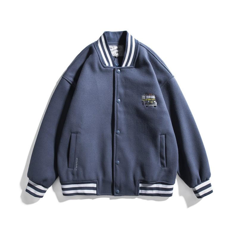 Wholesale Animal Letter Embroidery Women Long Sleeve Warm Spring Jacket Ladies O-neck Striped Pocket Logo