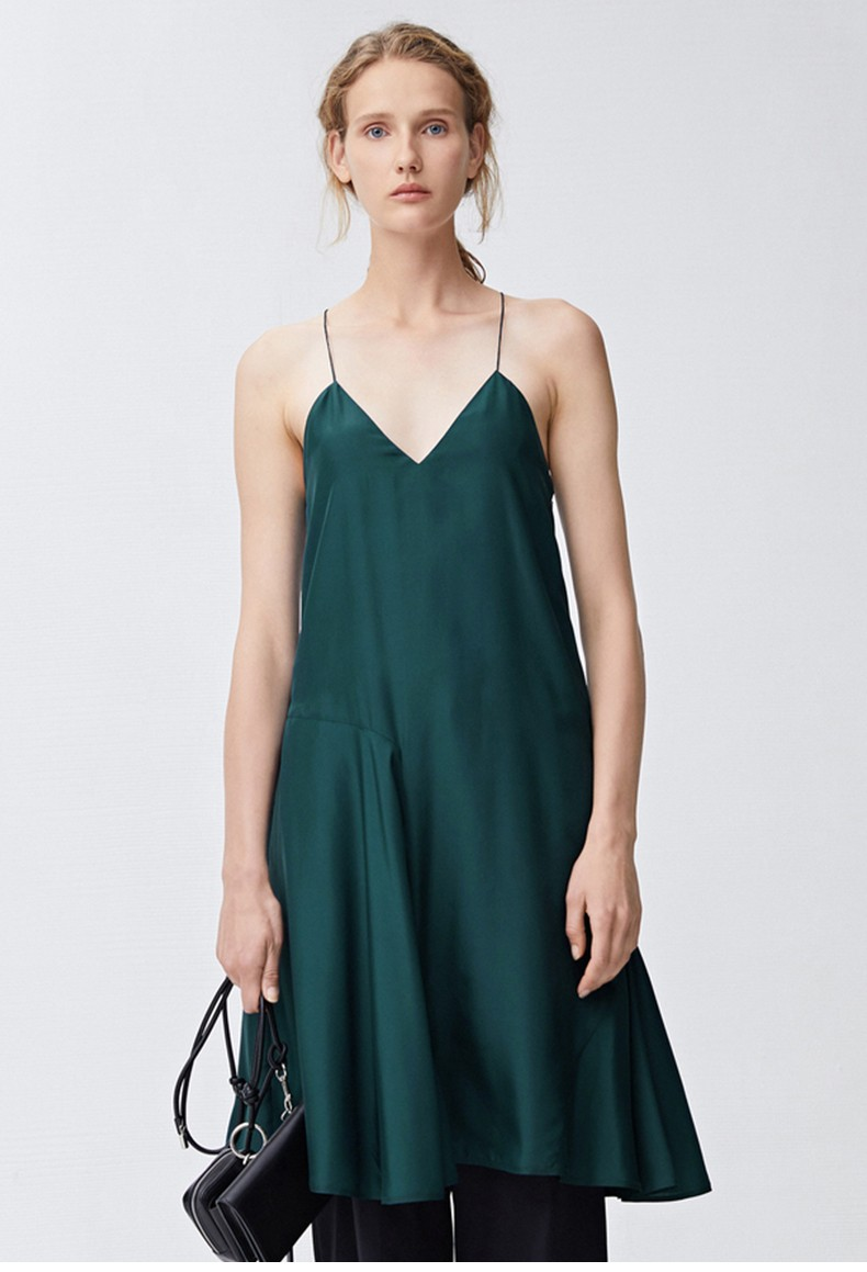 Solid Collarless Spaghetti Strap Casual Women Dress Backless Summer 2021 New Loose Plus Size Off-the-shoulder