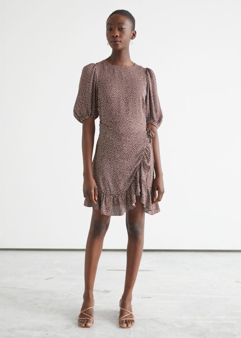 Dot Half Sleeve Ruffles Casual Women Dress Summer 2021 New Loose Plus Size Waistband O-neck