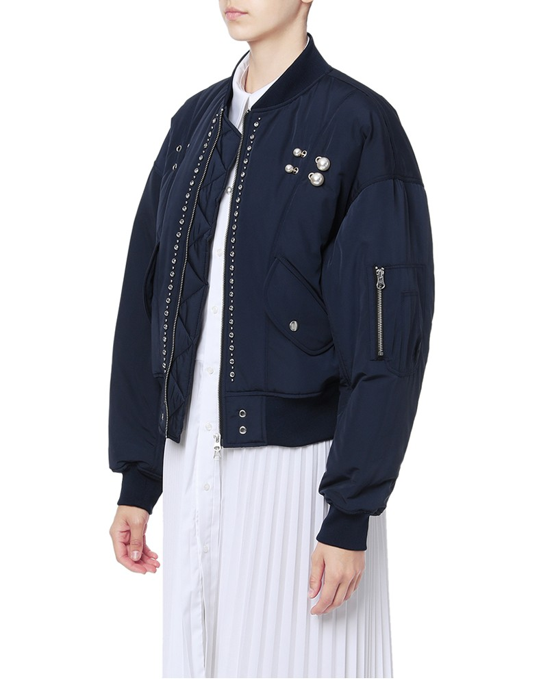 Eyelet Pearl Beading Women Windproof Coat Jacket Spring Autumn Winter Long Sleeve Sport Pocket