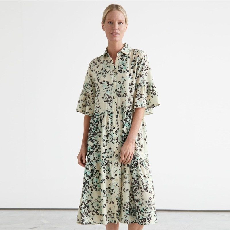 Ruffles Pleated Turn-down Collar Casual Women Dress Half Ruffled Sleeve Loose Plus Size Ruched Button