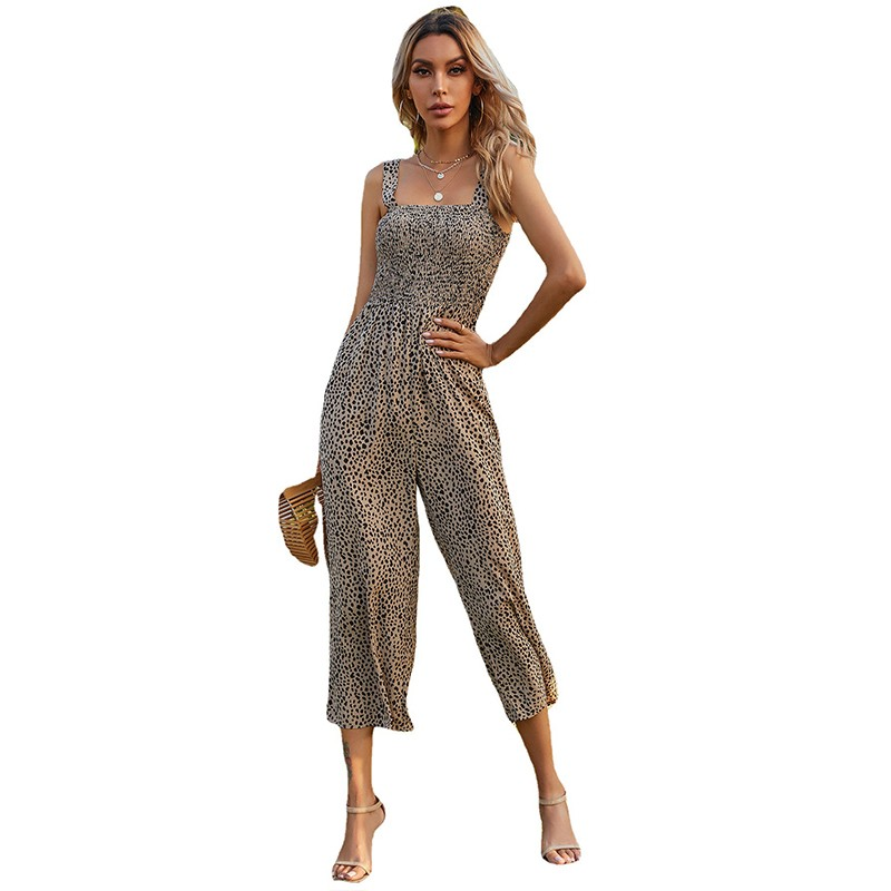BOLINAC Womens Casual Loose Sleeveless Spaghetti Strap Floral Wide Leg Pants Jumpsuit Rompers