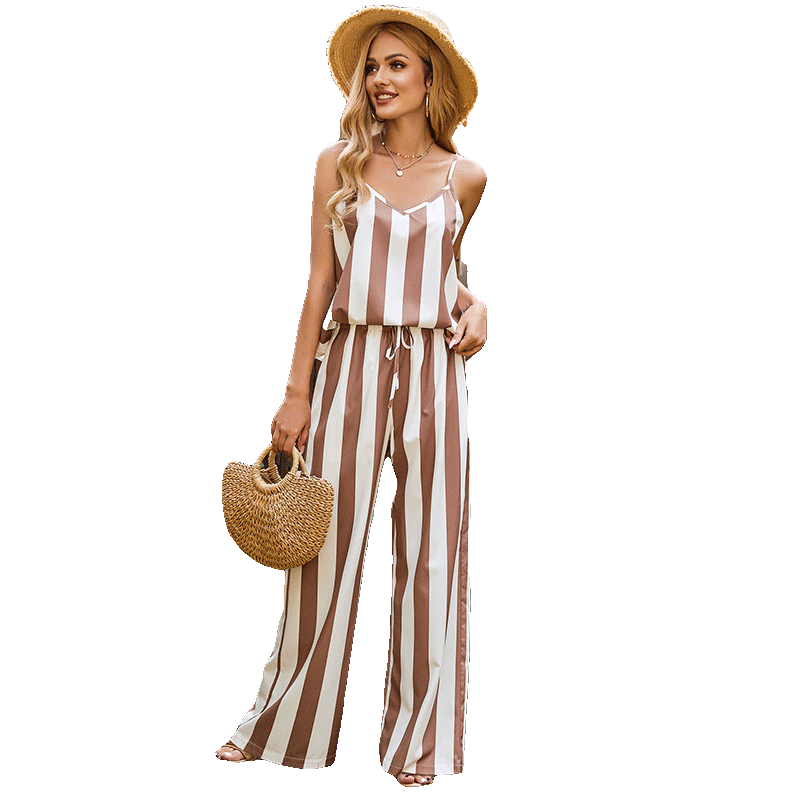 Womens Sexy Spaghetti Strap Stripe Wide Leg Rompers Sleeveless Ladies Outfits Jumpsuits