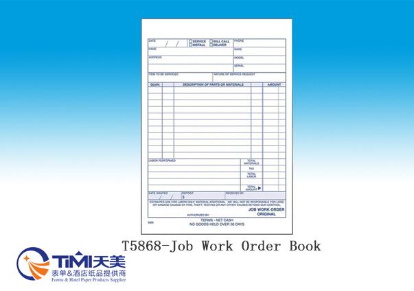 T5868-Job Work Order Book