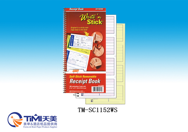 SC1152WS-Self stick removable Receipt BK