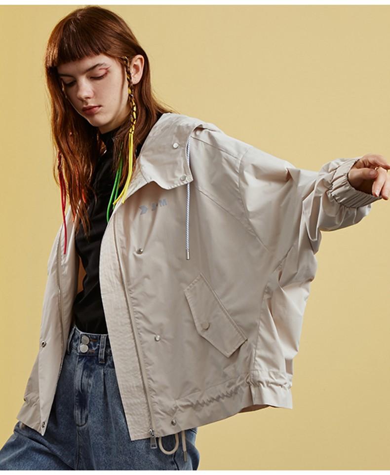 Wholesale Hooded Women Long Sleeve Warm Spring Jacket Ladies Pocket Button Letter Logo Customized