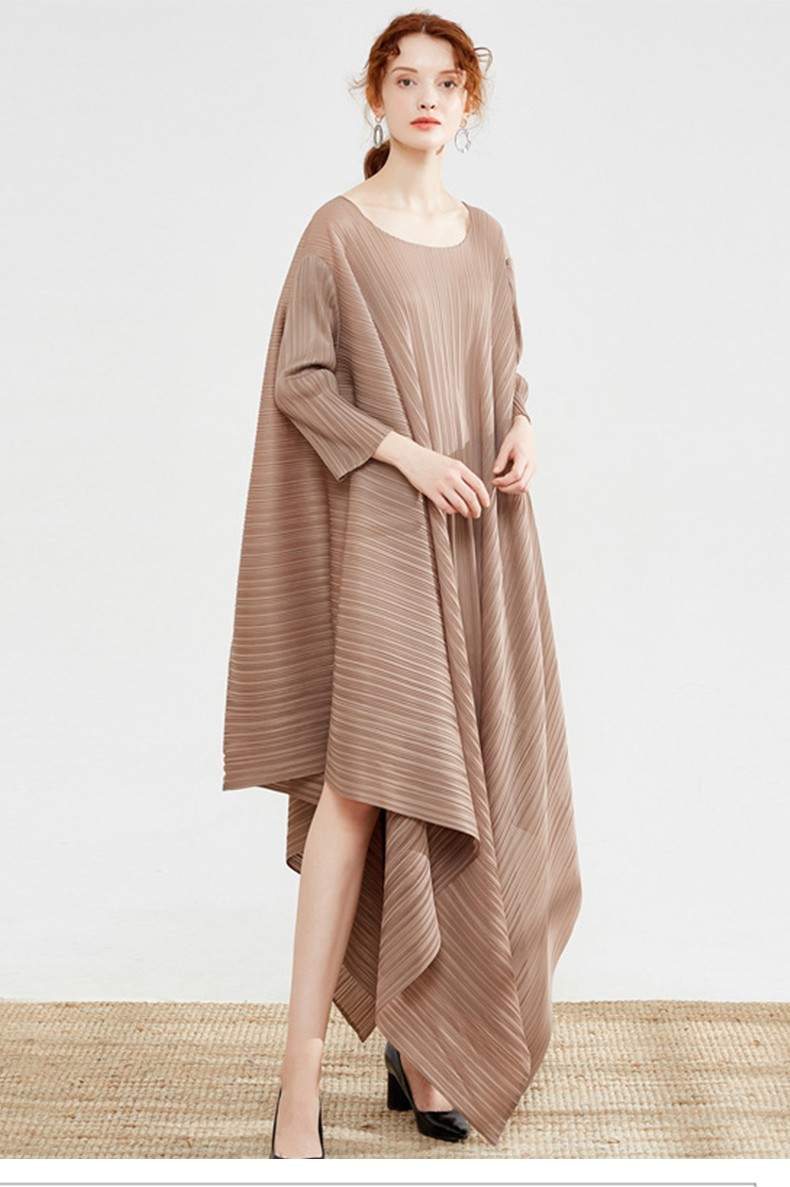 Elastic Band Robe Pleated Ruched Casual Women Dress O-Neck Long Sleeve Summer Solid Striped Ball Gown
