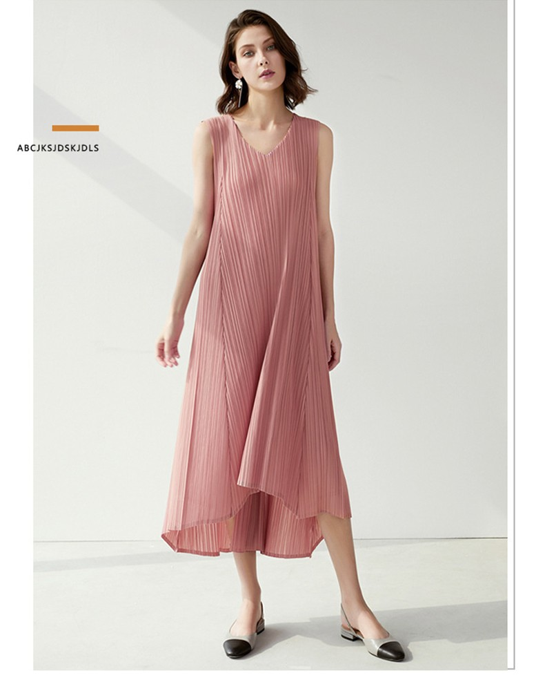 Pleated Ruched Elastic Waistband Casual Women Dress V-Neck Sleeveless Empire Summer Solid A-line Striped