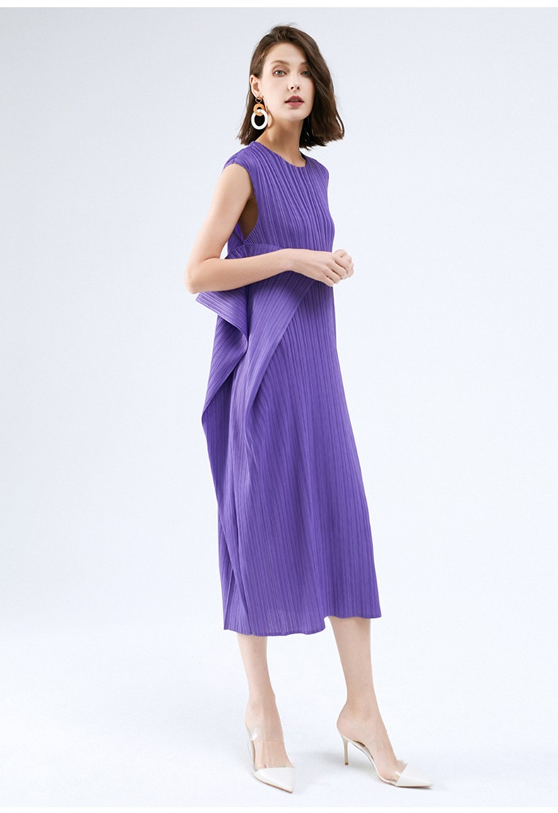 Pleated Ruched Ruffled Casual Women Dress O-Neck Sleeveless Empire Summer Solid A-line Striped Elastic